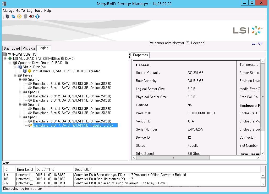 Default Password for LSI MegaRAID Storage Manager